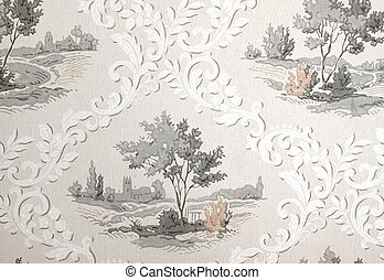 Vintage wallpaper - Old retro wallpaper from the fifties or...