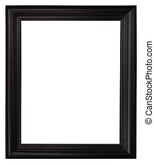 black picture frame - Isolated black picture frame wood...