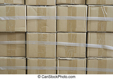 Stacked Boxes - Twelve stacked boxes shot straight on.