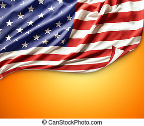 American flag - Closeup of American flag on orange...