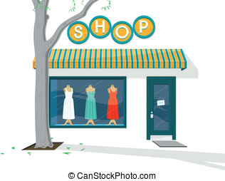 Shop Exterior - Vector illustration of the Exterior of a...