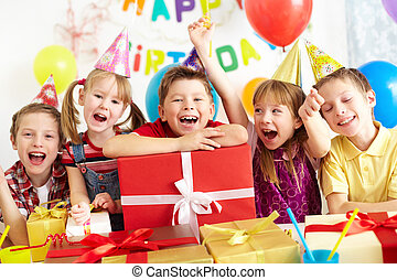Happy kids - Group of adorable kids looking at camera with...