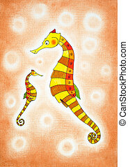 Seahorses, child's drawing, watercolor painting on paper