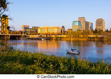 Sacramento at sunset - Downtown Sacramento California