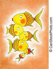 fish, groupe, or, enfant, dessin, aquarelle, papier,...