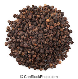 peppercorns - Close up of black peppercorns in isolated...