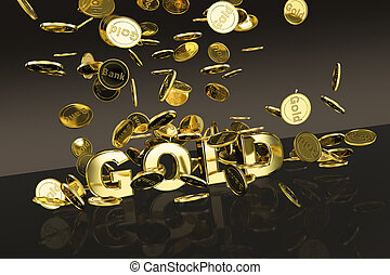 Gold Coins - 3D scene with gold coins falling onto a gold...
