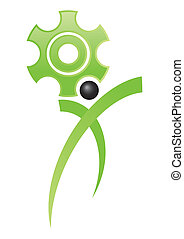 cogs of job - cog symbol of work with stylized man