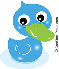 Cute little blue rubber duck isolated on white - Cartoon...