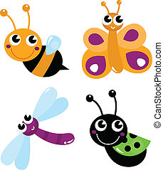 Cute little cartoon bugs isolated on white - Colorful bugs...