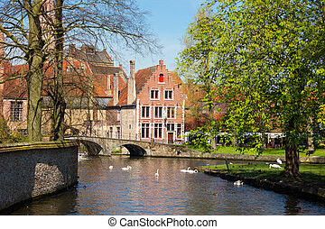 Minnewater in Brugge, Belgium - Minnewater vivid landscape...
