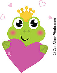 Cute frog holding Pink Heart isolated on white - Funny frog...