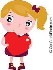 First love - cute little girl holding red heart isolated on whit