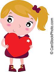 CÙte, pequeno, Amor, Coração,  -, isolado, segurando, menina,  whit, vermelho, primeiro