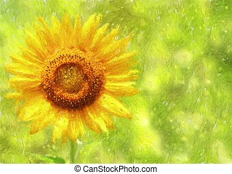 Sunflower / Helianthus Impressionism painted