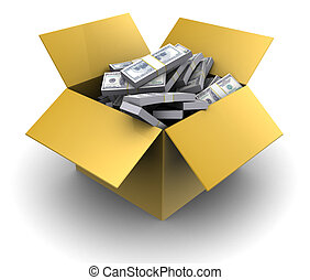 money in cardboard box - 3d illustration of cardboard box...