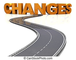 road to changes - 3d illustration of asphalt road and sign...