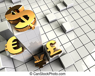 currency symbols - 3d illustration of abstract background...