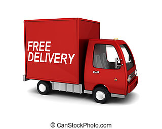 free delivery - 3d illustration of free delivery truck, over...
