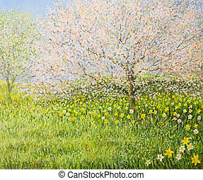 Springtime Impression - An oil painting on canvas of a...