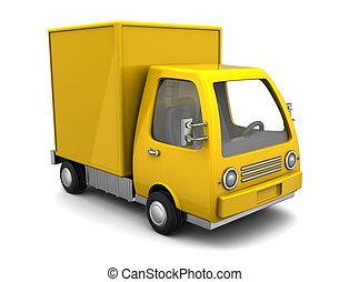 delivery truck - 3d illustration of yellow delivery truck...