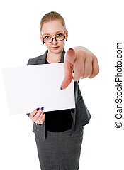 A woman holding a blank placard. Isolated on a white...
