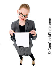 Young smiling woman show blank card.