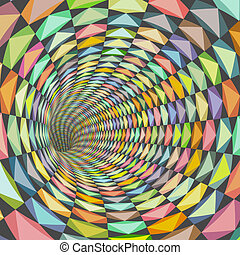 illustration tiled tunnel in multiple happy color