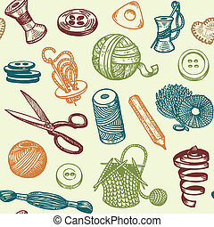 Sewing Needlework Seamless Pattern - Sewing And Needlework...