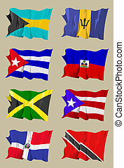Eight Caribbean flags - Computer generated illustration of...