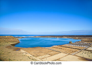 famous salinas de Janubio in Lanzarote, Canary islands,...