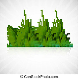 abstract green grass with reflection vector whit background