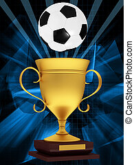 Gold cup with a soccer ball on an abstract background