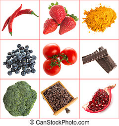Antioxidants - Variety of healthy antioxidants on a white...