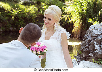 Beautiful Bride and groom on their wedding day, Married...