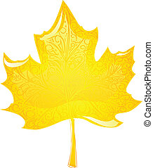 maple leaf - vector glass maple leaf