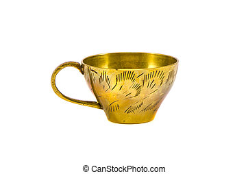 ornamental vintage brass cup isolated on white