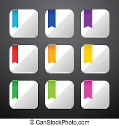Set of the app icons with ribbons.
