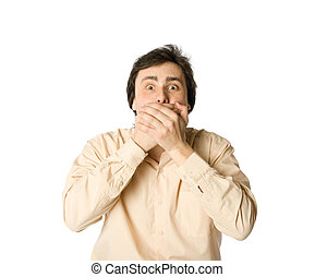 I won\\\'t tell you - Man covering his mouth with hands,...
