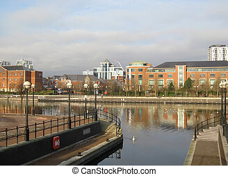 Residential buildings in Salford Quays, Manchester -...