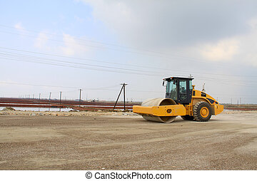 roller in highway construction site, north china