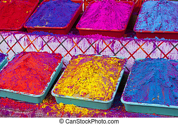 Different colors for sale in India on the occasion of Holi...