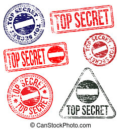 Top Secret Stamps - Rectangular and round top secret rubber...
