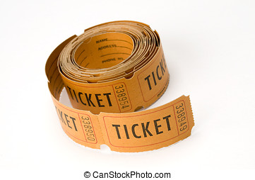 ticket stubs - orange ticket stubs on white background,...