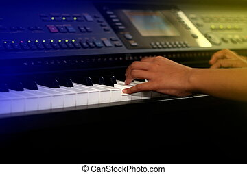 pianist, with motion effect - stage concept - pianist, with...