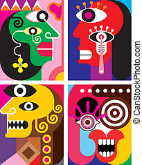 Four Faces - abstract vector illustration. Contemporary art.