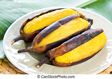 Grilled banana - Grilled Thai banana [ as snack or dessert]