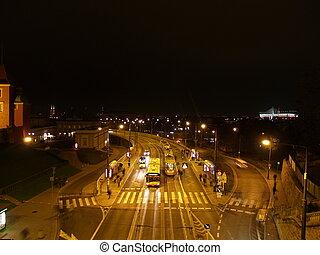 estación, Varsovia, TRANVÍA, noche