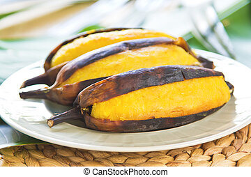 Grilled banana - Grilled Thai banana as snack or dessert