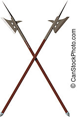 Two crossed battle halberds - two crossed battle halberds...